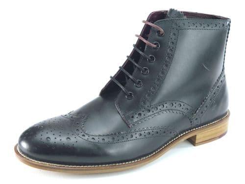 London Brogues Gatsby Hi Black Lace Boots